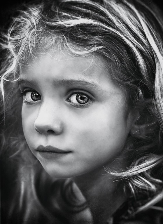 black and white close up picture of young girl by Jennifer Green