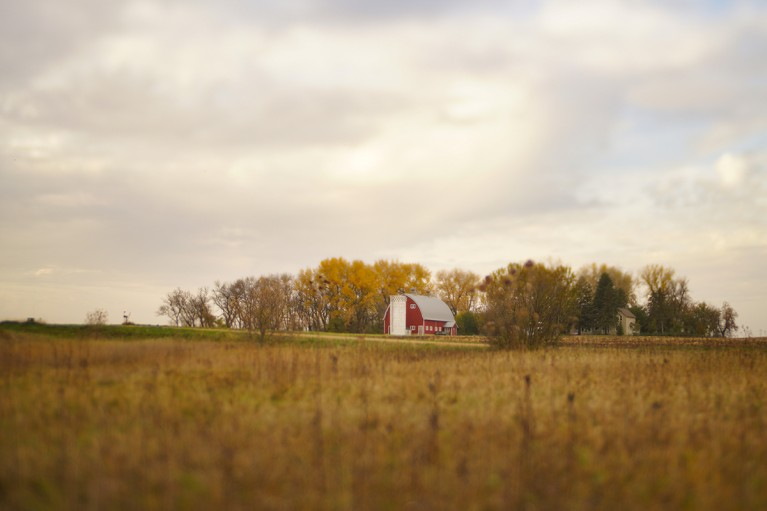 Prairie Landscape photo with red barn by Caroline Jensen