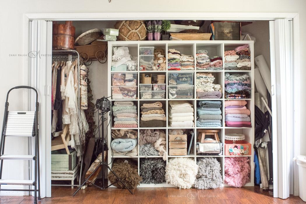 photo studio prop closet for newborn and baby photographer Chavi Malka