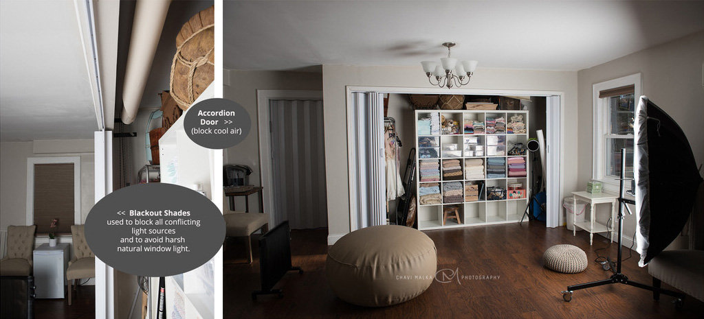 what an in home photography studio looks like by Chavi Malka
