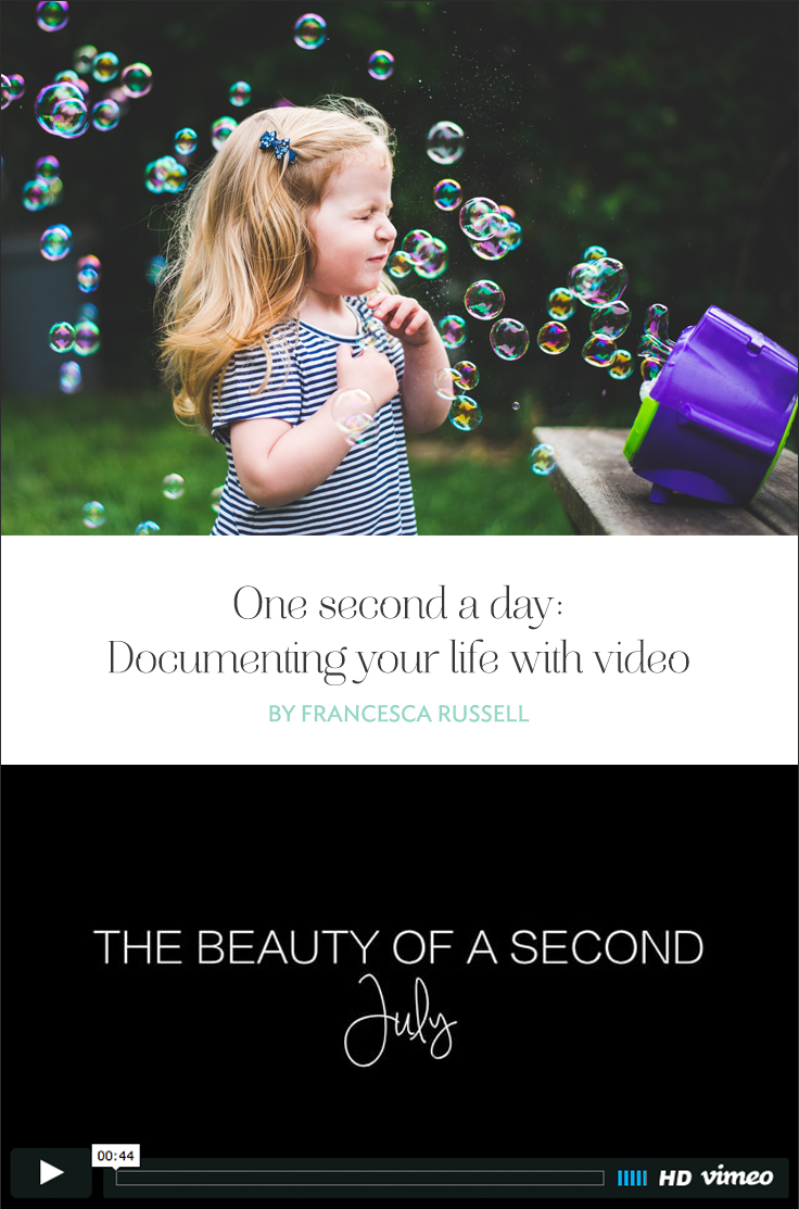 At the beginning of 2016, I decided that I wanted to take a leap and, in addition to my one-photo-a-day project, complete a one-second-a-day video project.