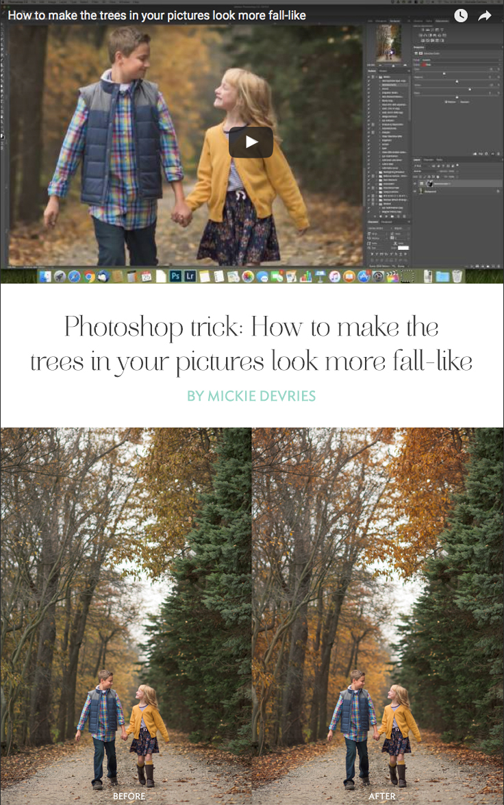 Photoshop trick- How to make the trees in your pictures look more fall-like