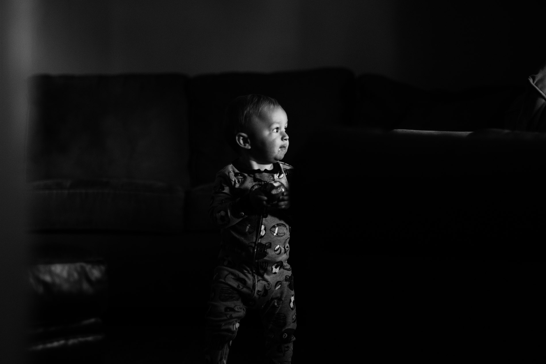 black and white photo of toddler by Jessica Svoboda