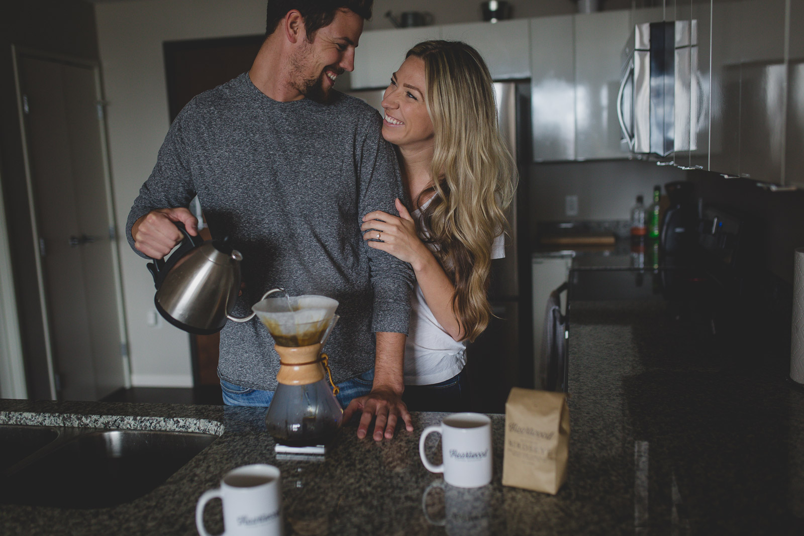 pic of husband and wife making coffee in the kitchen by Tami Keehn, photographing couples