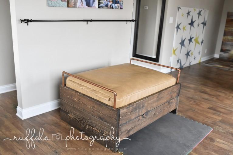 custom rectangle beanbag stand for newborns by Netasha Ruffolo