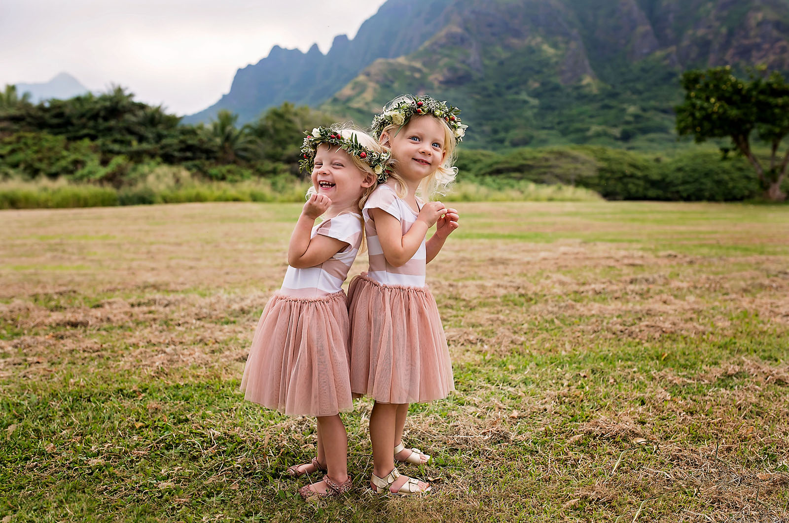 photo of two girls wearing flower crowns in Hawaii by Allison Gipson