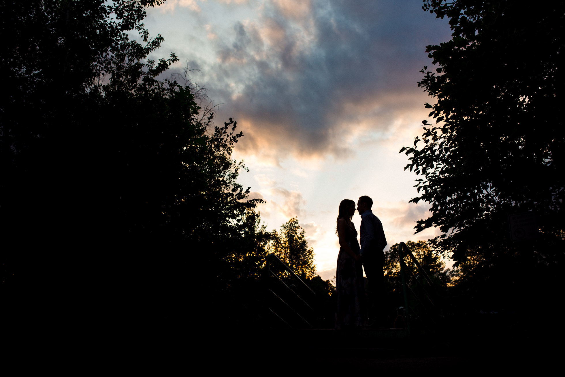 silhouette picture of couple by Sonia Bourdon