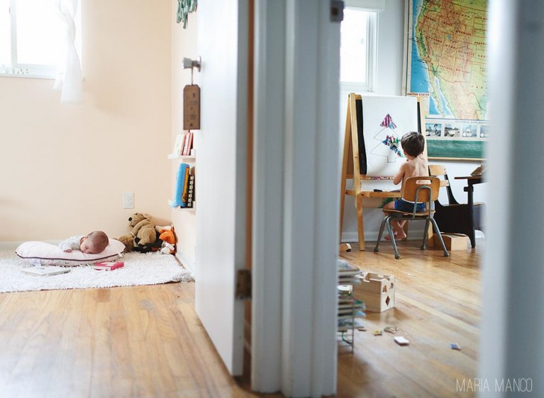 split room view of kids in their bedrooms by maria manco