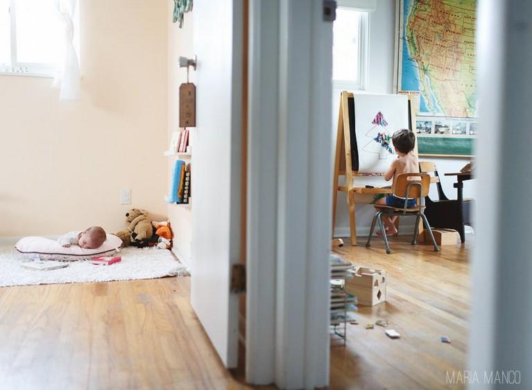 split room view of kids in their bedrooms by maria manco
