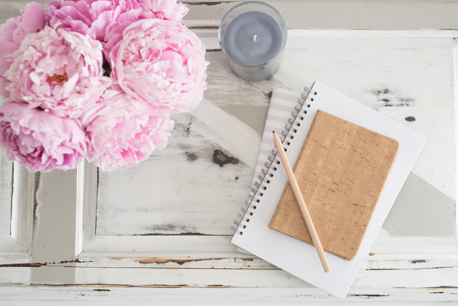 styled stock photo with notepad and pink carnations by Jana Bishop