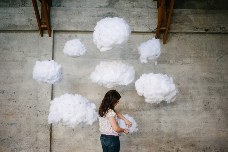 DIY clouds as a photo backdrop