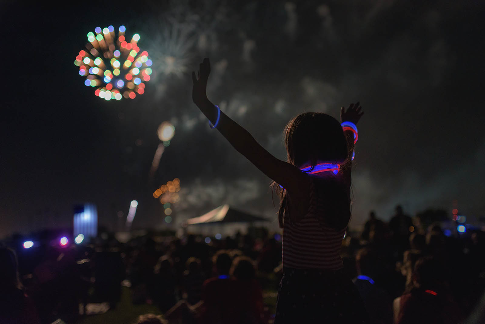 Back up when photographing fireworks