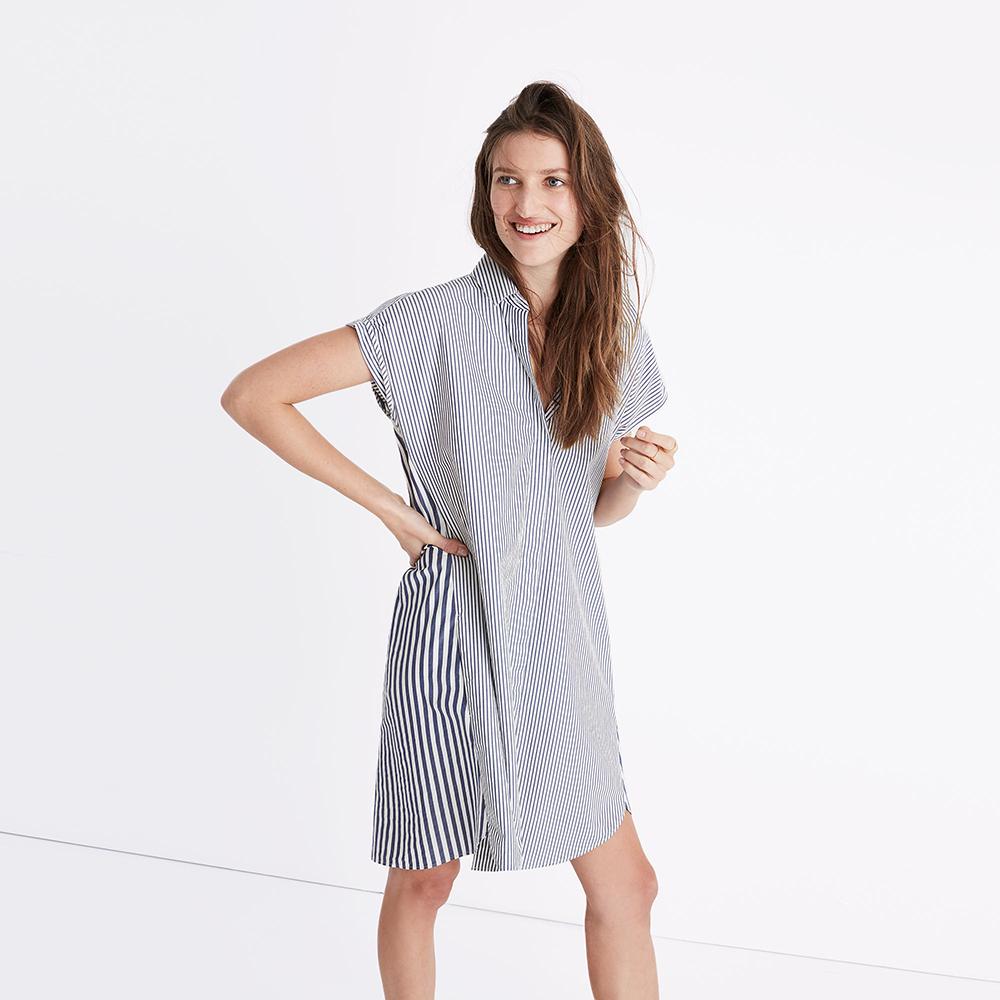 Madewell Stripe-Mix Shirtdress