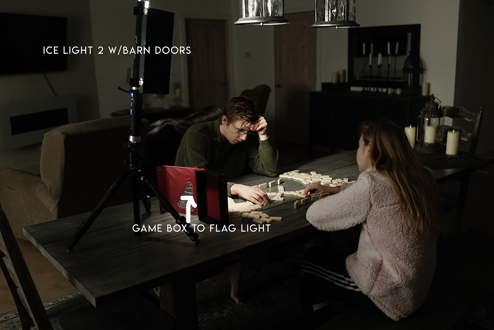 Dominos Pullback With Ice Light 2 And Barn Doors With Text Click