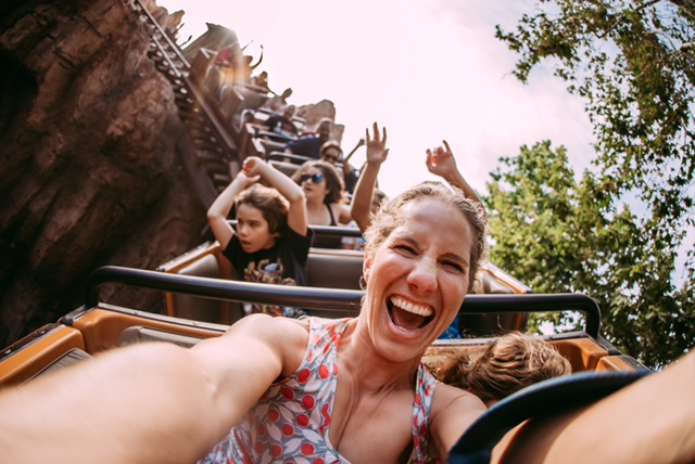 Disney selfie of woman on ride, Disney photo tips on getting in the frame