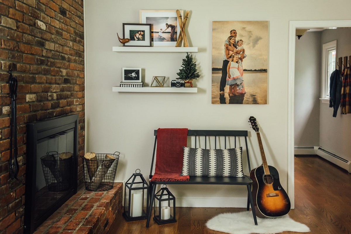 photo decor by Miller's Professional Imaging, a photo wall display in stylish home above stairway