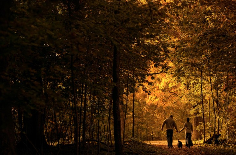Julia Woods on why memories matter most, two people walking through woods with dog