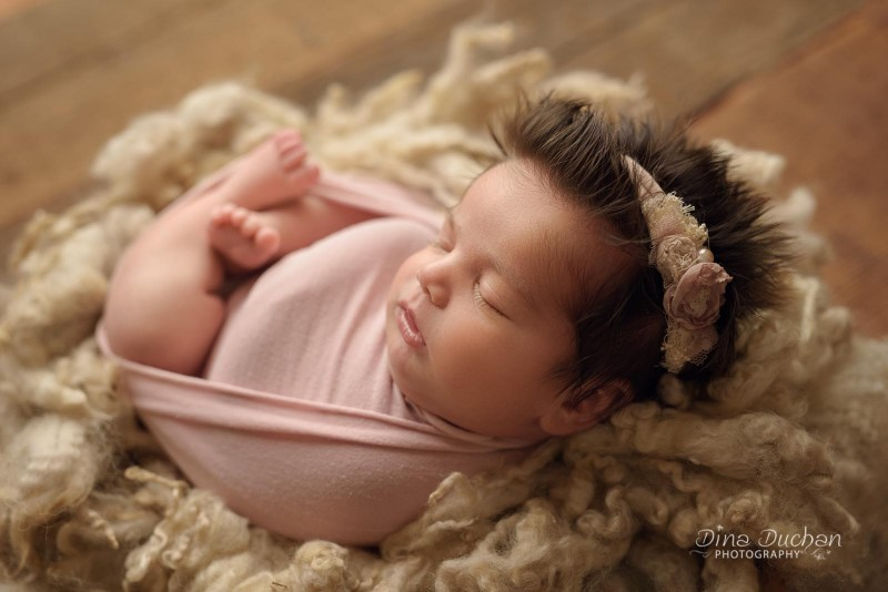 newborn studio lighting, backlit newborn in basket