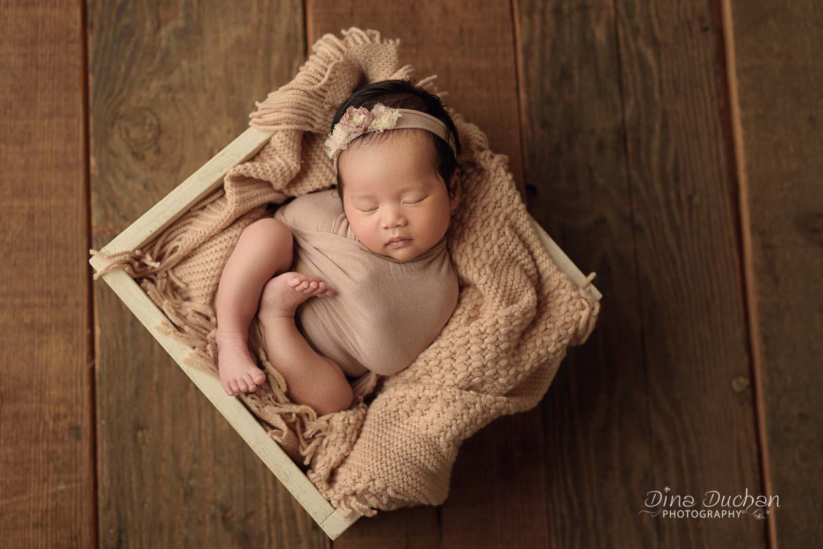 Correct newborn pose for studio lighting baby laying in c curve