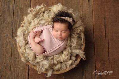 newborn baby in basket with broad lighting, studio lighting