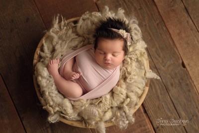 newborn in basket with short lighting, studio lighting