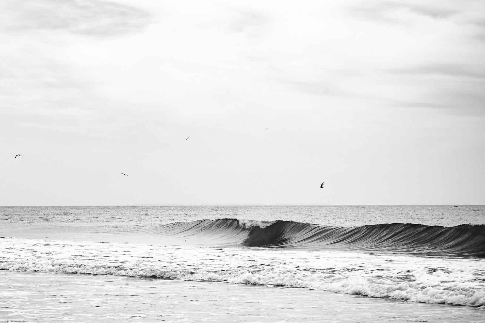 black and white landscape photography of Buxton Beach, VA
