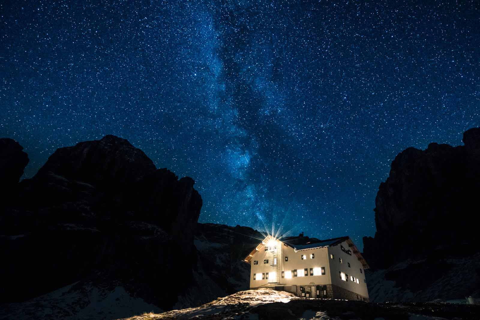The Milky Way over Pisciadu Hutte, landscape photography taken with long exposure