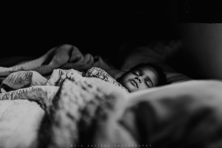 Child in mom's bed as a favorite spot at home