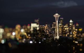 Seattle skyline after dark by Nadeen Flynn