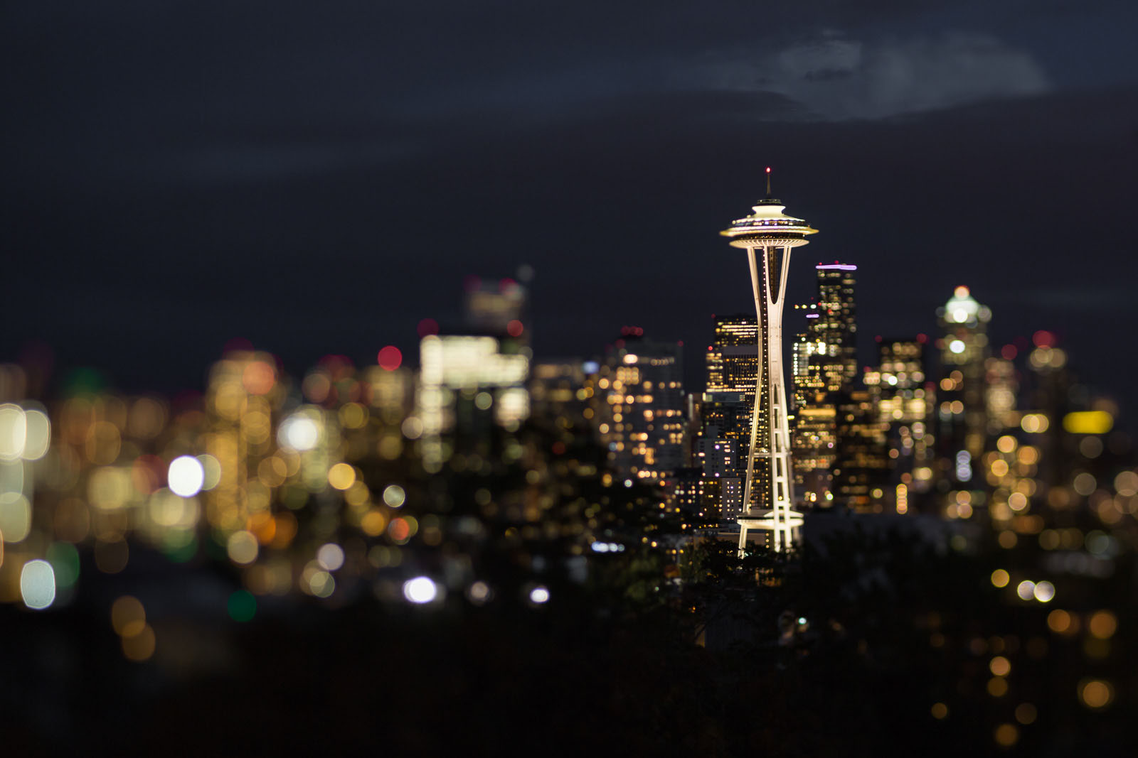 Seattle skyline after dark by Nadeen Flynn