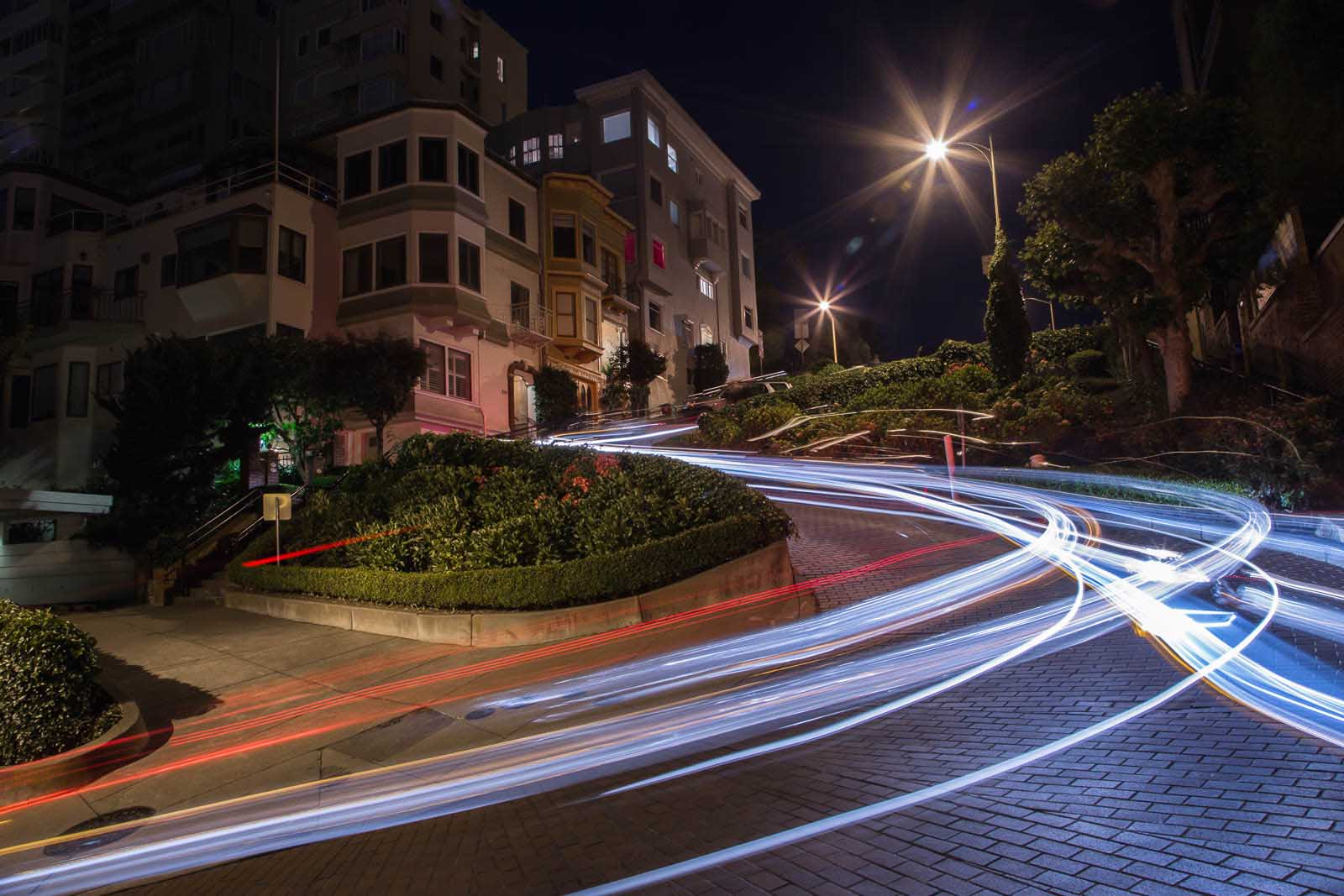 Headlight trails during a night photography shoot after sunset