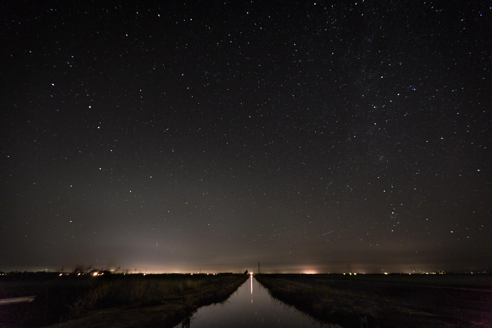 Stars on the horizon during a night photography session