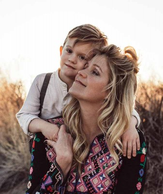 Mother and son hug with unconditional love