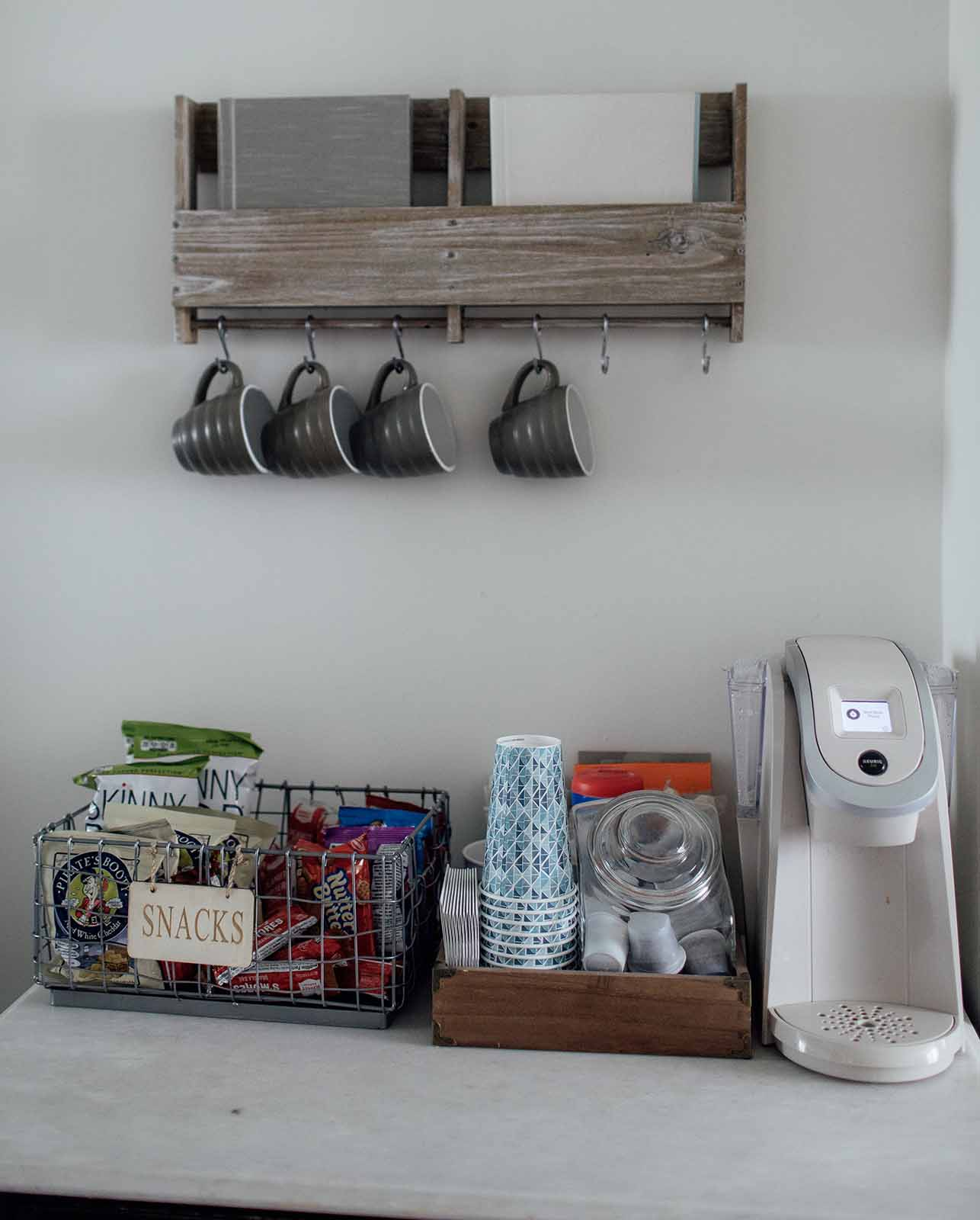 Newborn photography studio essentials - coffee and tea bar