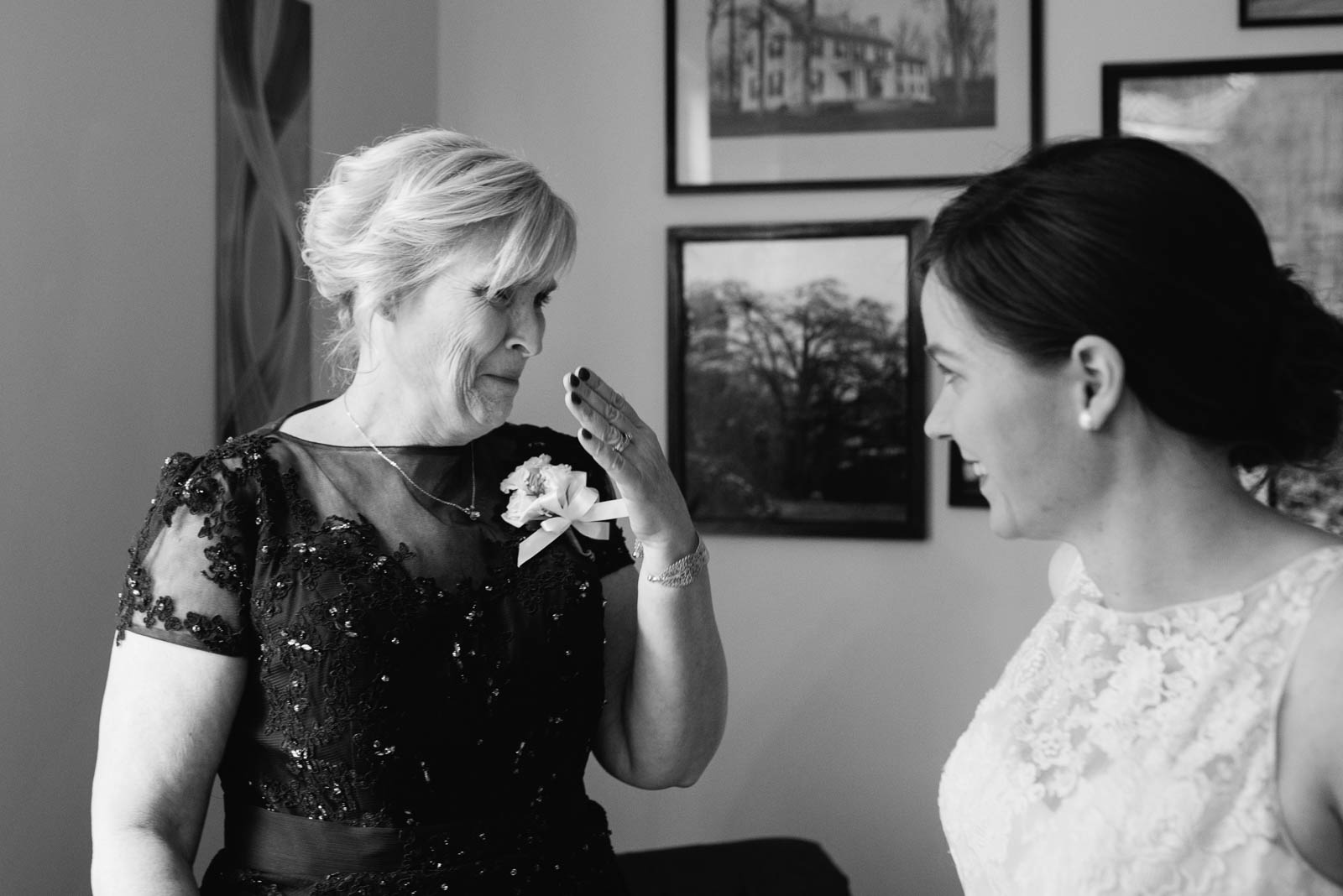 An emotional mom before her daughter's wedding