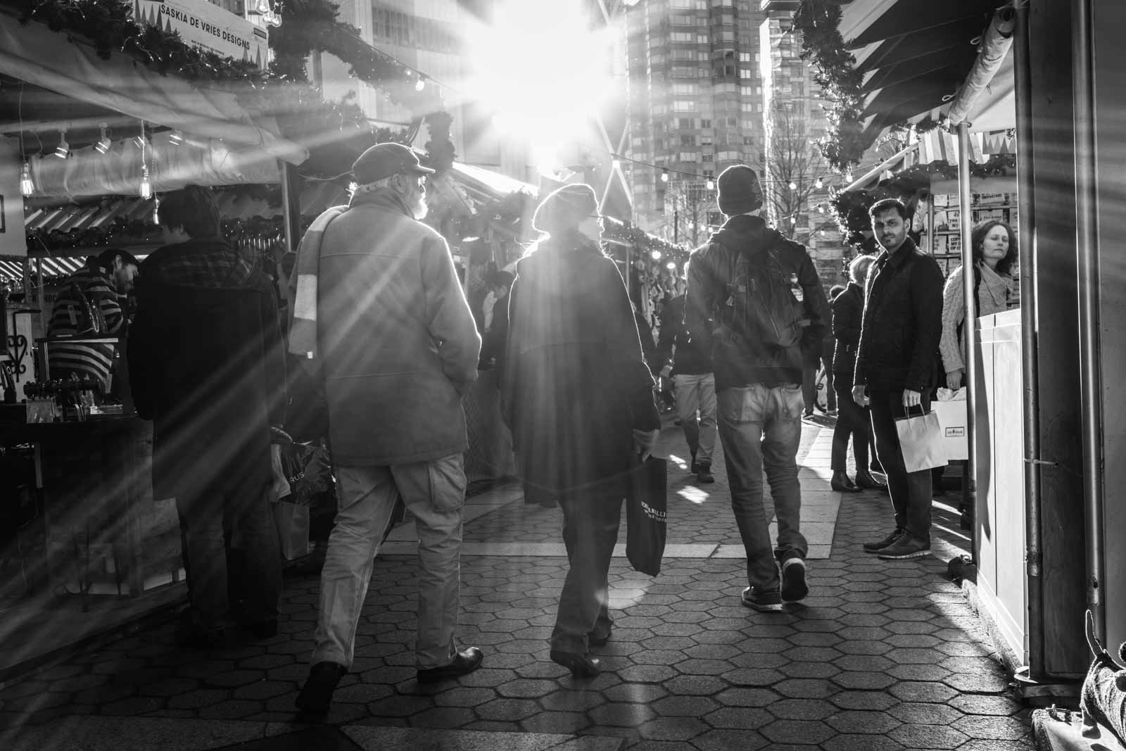 black and white street photography of a crowded street