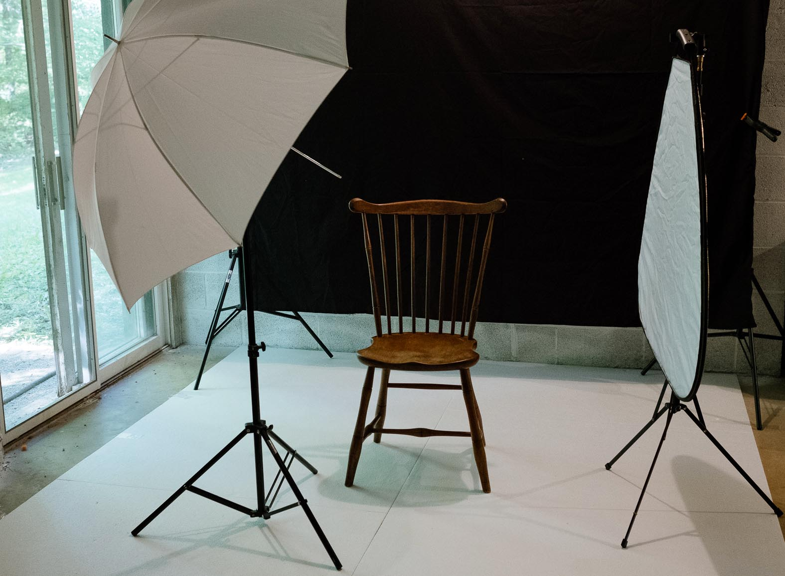 Basement photo studio setup