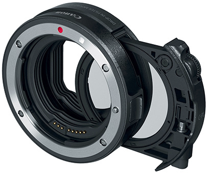 Canon filter adapter with polarizing filter for EOS-R mirrorless camera