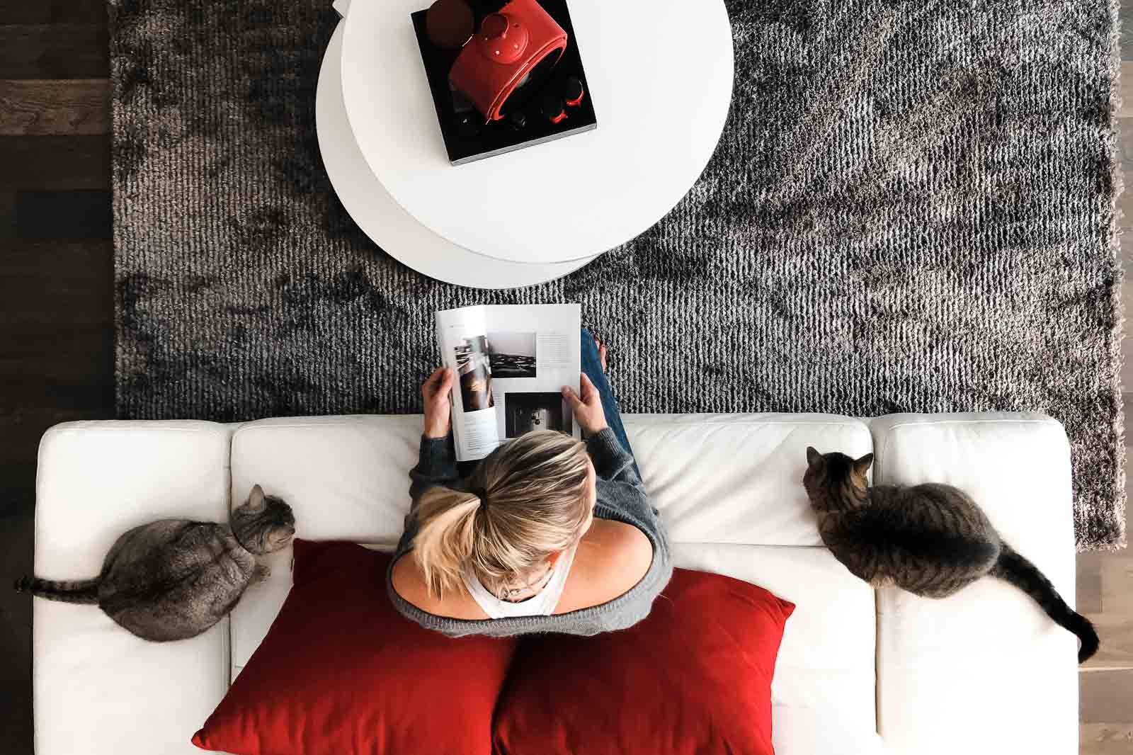 selfie from above of woman reading while cats watch
