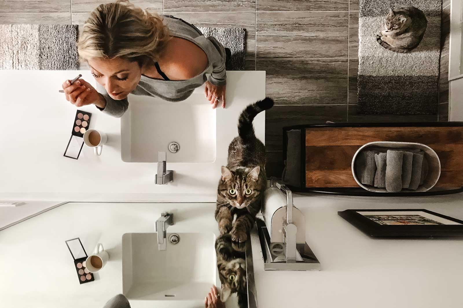 selfie from above of a woman putting on makeup at cat looks on