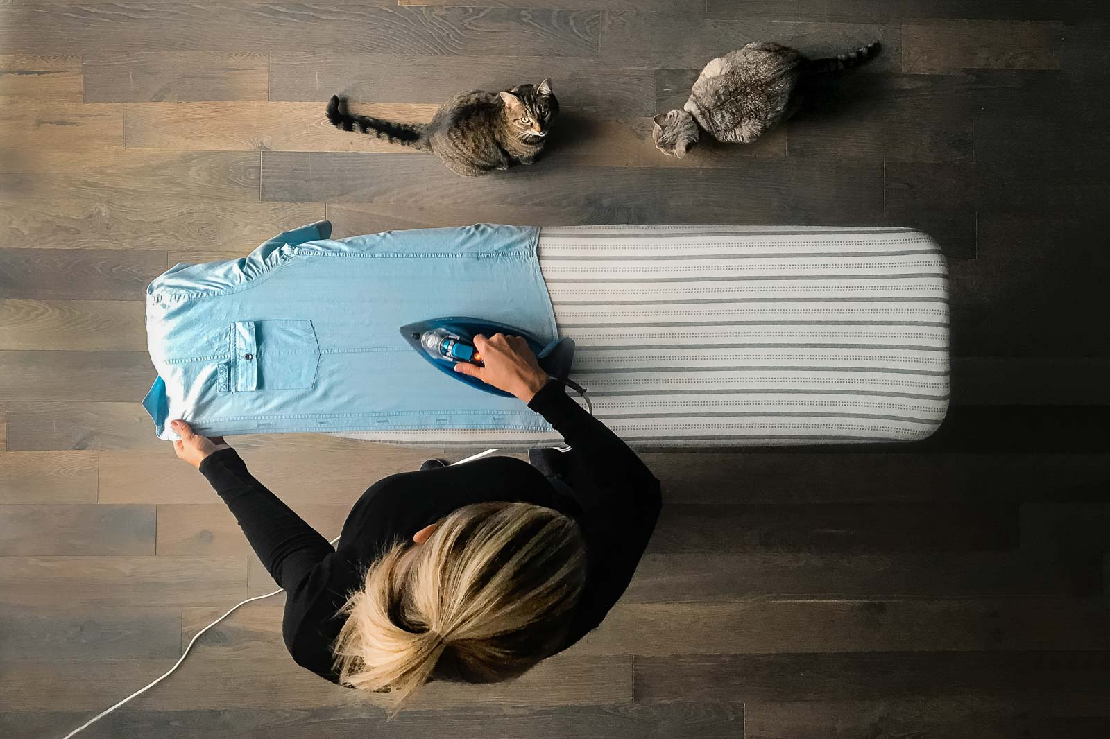 selfie from above of woman ironing as cats watch