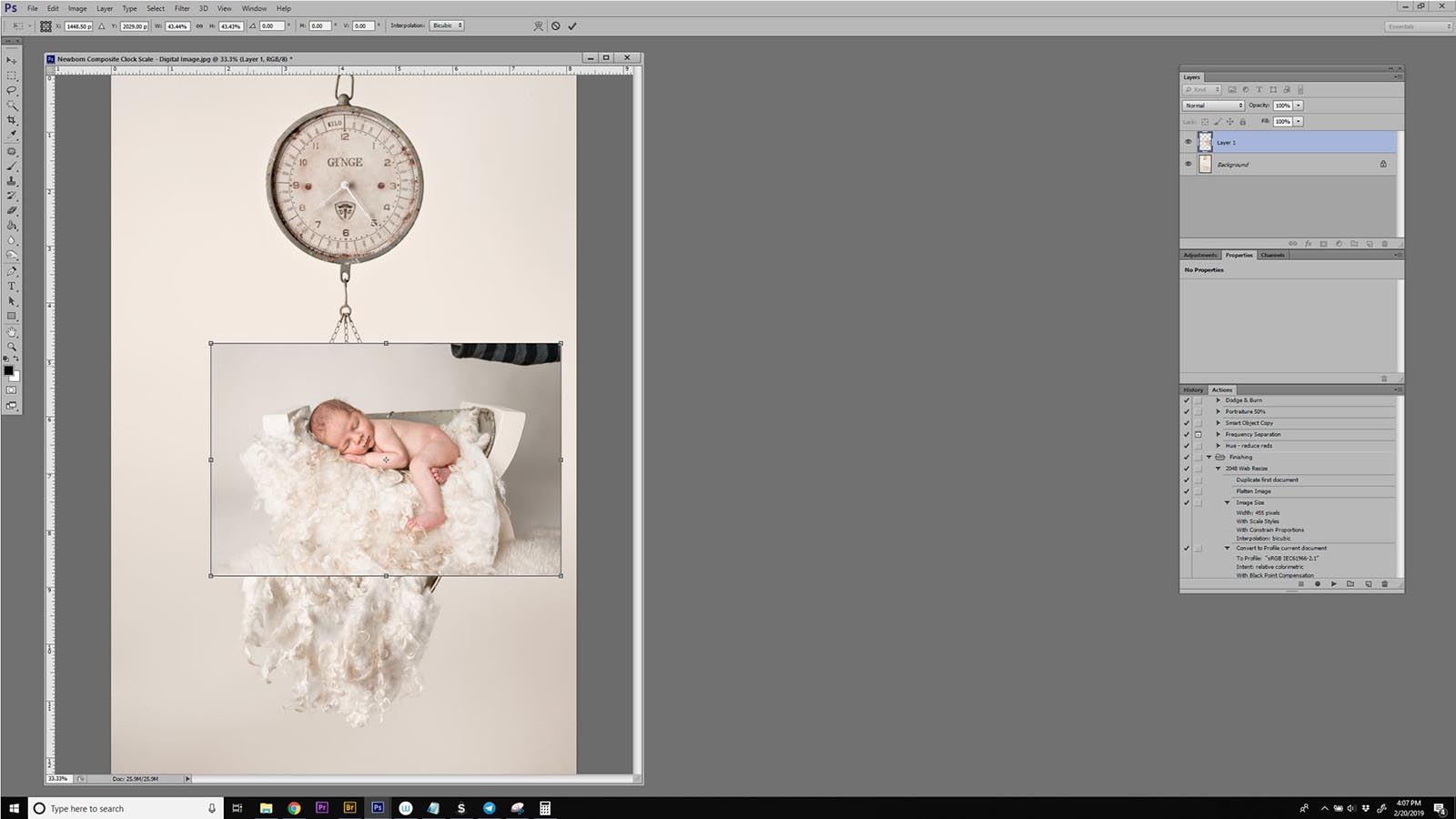 Safe newborn composites using photoshop