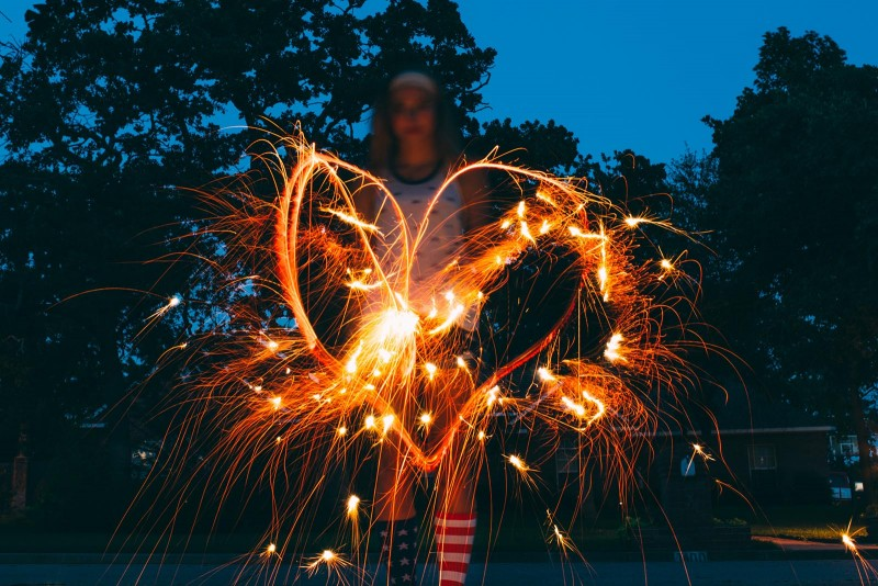 How to photograph sparklers with light trails