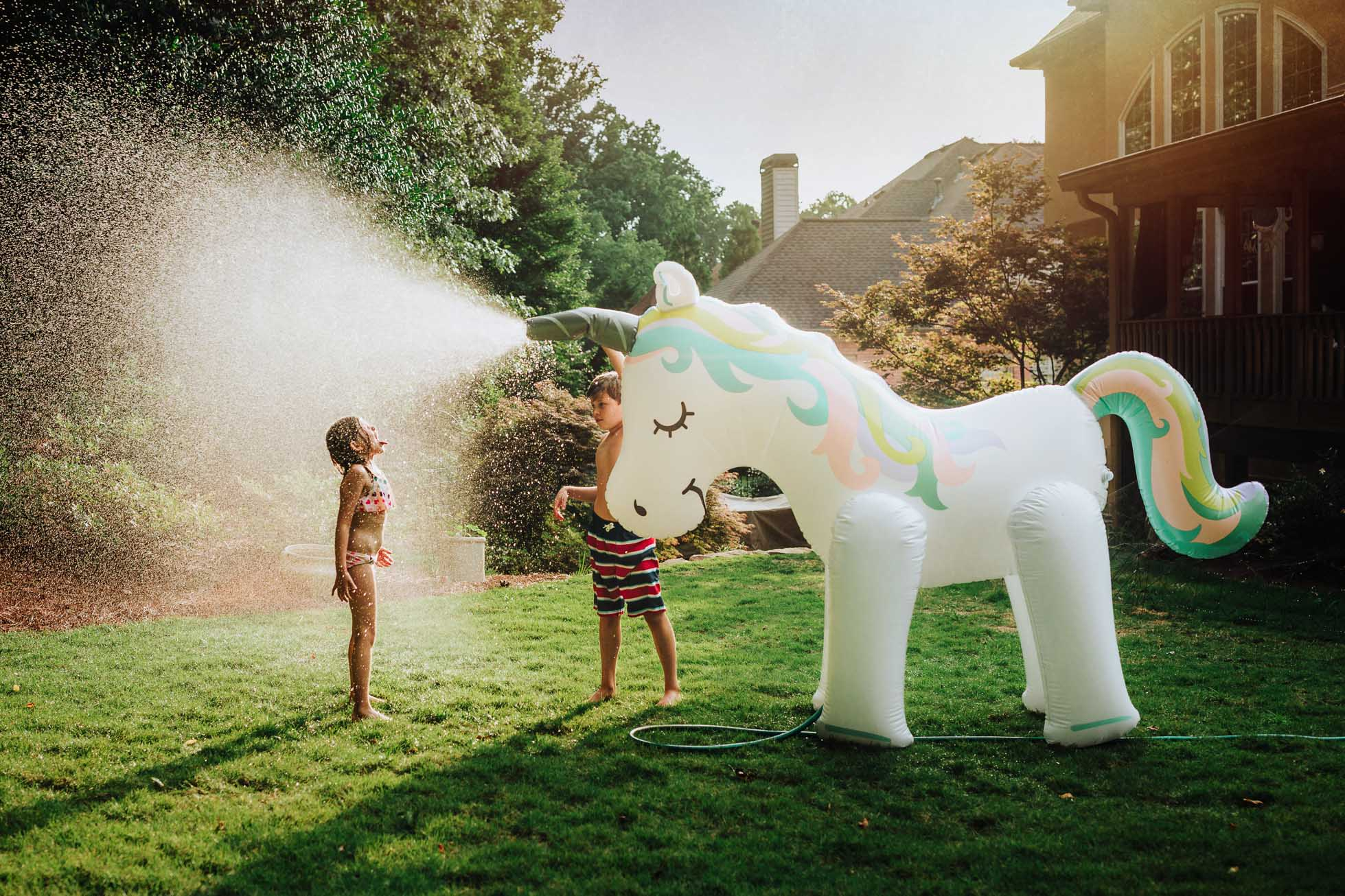 Summer photo props, a unicorn sprinkler