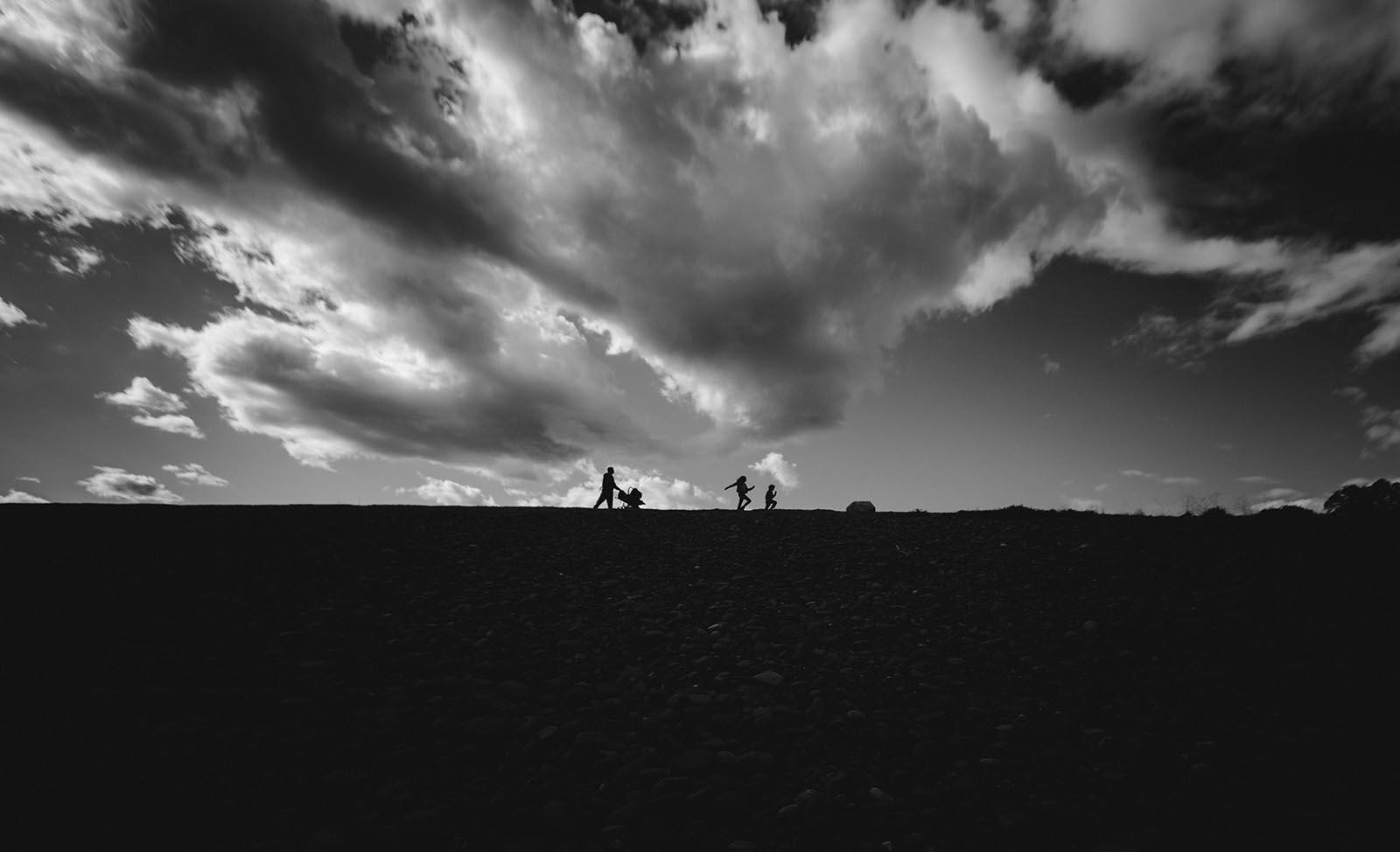 Black and white photo in harsh light
