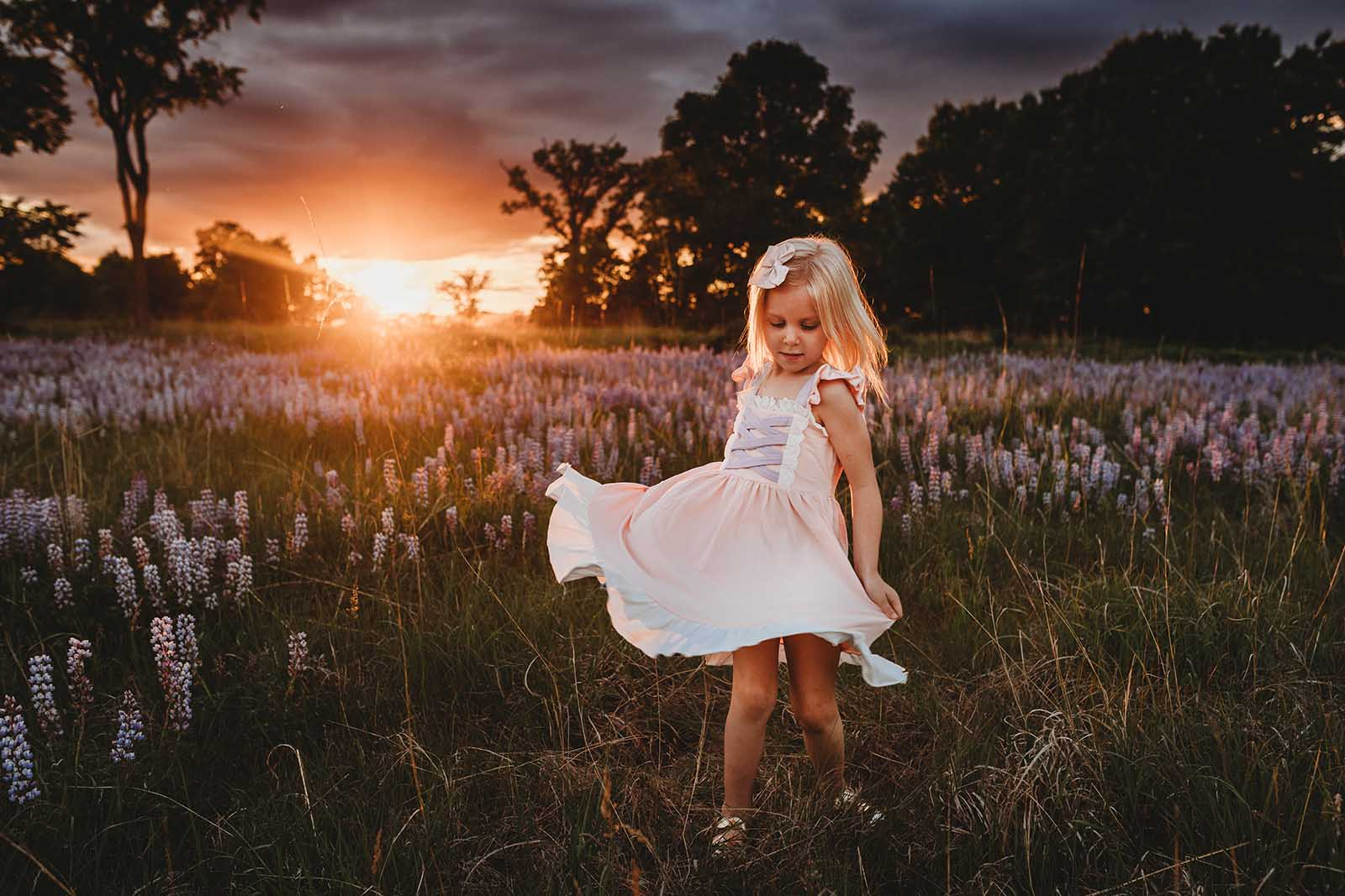 Girl twirling - Use color in photography composition