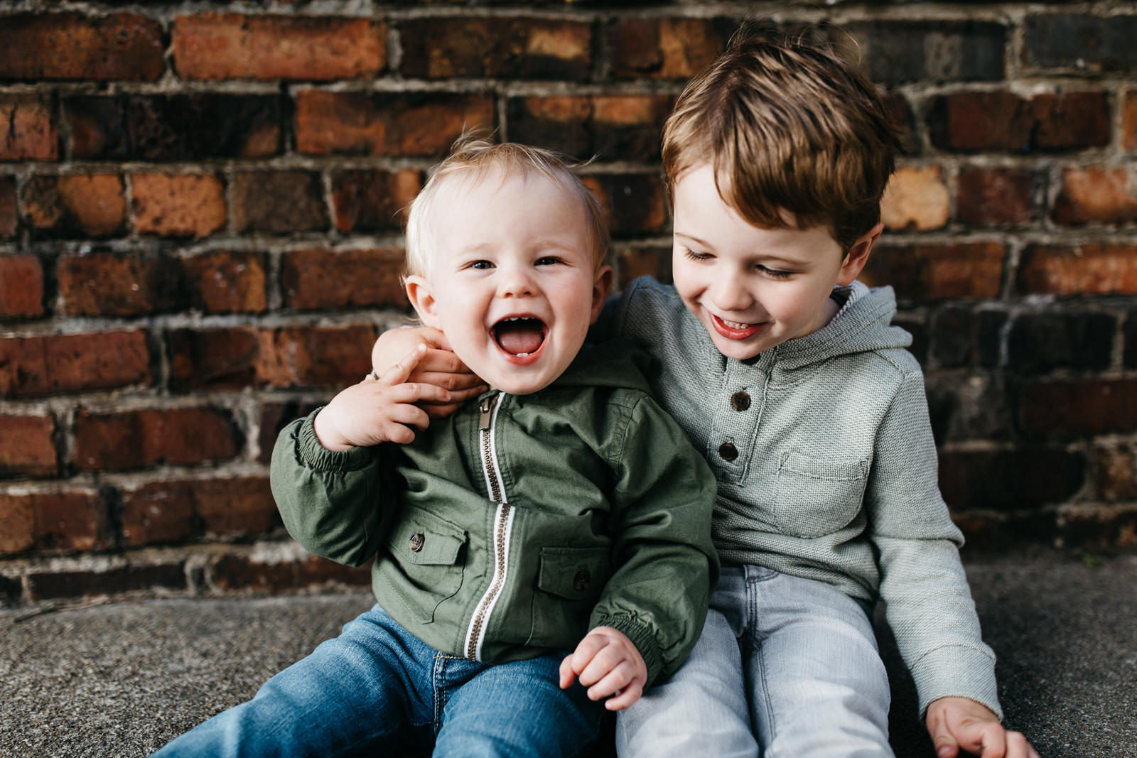 Two little boys laughing - Photographing shy kids