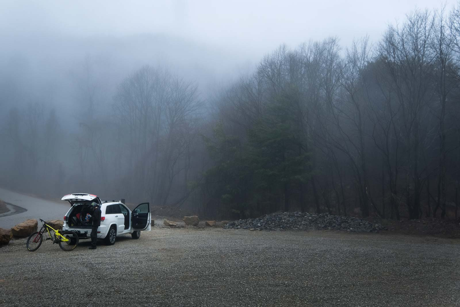 GiA car parked on a foggy road: how to build a photography portfolio