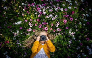 Girl with camera in flower field - How to buy a camera
