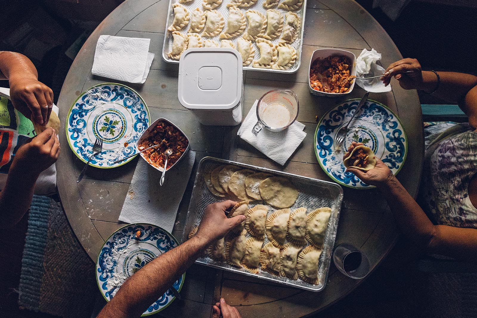 above view of people making empanadas, a legacy photo contest winner